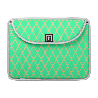 Trendy Geometric Checkered Teal Yellow Pattern Art Sleeve For MacBooks