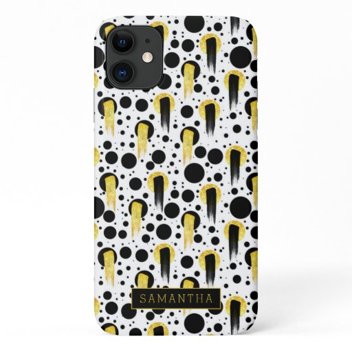 Trendy Geometric Circles Gold Black Monogram iPhone 11 Case