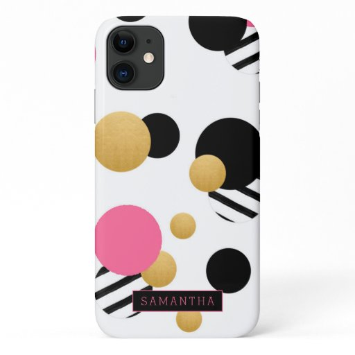 Trendy Geometric Circles Gold Pink Black Monogram iPhone 11 Case