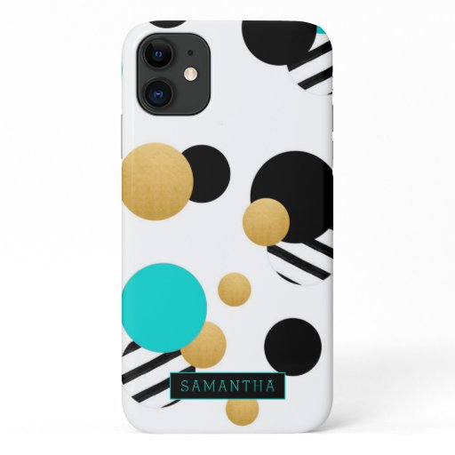 Trendy Geometric Circles Gold Teal Black Monogram iPhone 11 Case