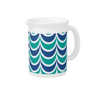 Trendy Geometric Pattern Blue Green Wavy Stripes Beverage Pitcher