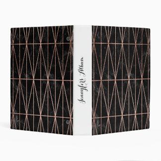 Trendy geometric triangles rose gold black marble mini binder