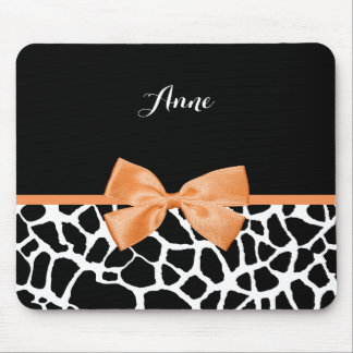 Trendy Giraffe Animal Print Orange Bow With Name Mouse Pad