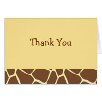 Trendy Giraffe Animal Print Thank You Note Cards