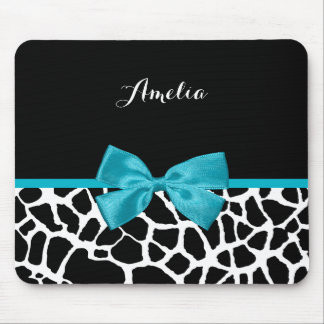 Trendy Giraffe Animal Print Turquoise Bow and Name Mouse Pad