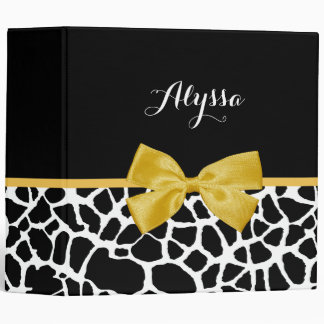 Trendy Giraffe Print Golden Yellow Bow With Name Binder