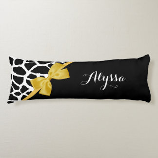 Trendy Giraffe Print Golden Yellow Bow With Name Body Pillow