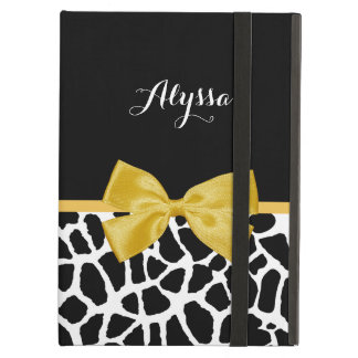 Trendy Giraffe Print Golden Yellow Bow With Name iPad Air Covers