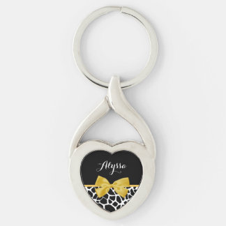 Trendy Giraffe Print Golden Yellow Bow With Name Keychain