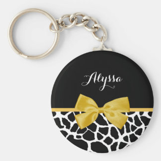 Trendy Giraffe Print Golden Yellow Bow With Name Basic Round Button Keychain
