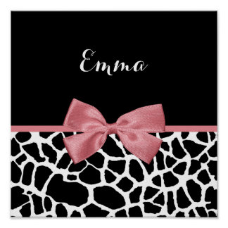 Trendy Giraffe Print Rosy Pink Bow With Name