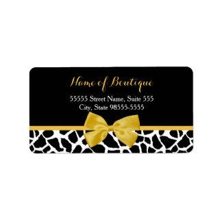 Trendy Giraffe Print Yellow Bow Fashion Boutique Label