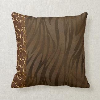 Trendy Giraffe & Zebra Print Pattern Pillow