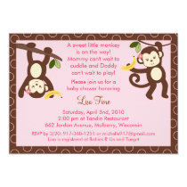 Trendy Girl Monkey Jungle Baby Shower Invitations