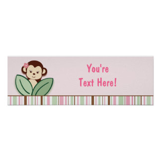 Trendy Girl Monkey Jungle Personalized Banner Sign Print