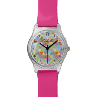 Trendy girls watch with colorful geometric pattern