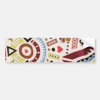 Trendy Girly Abstract Orange Brown Tribal Pattern Bumper Sticker