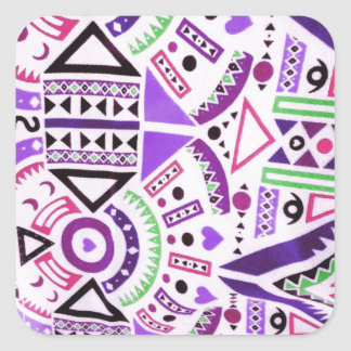 Trendy Girly Abstract Purple Pink Tribal Pattern Square Sticker