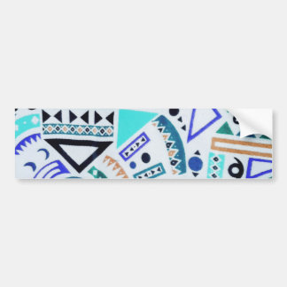 Trendy Girly Abstract Teal Tribal Pattern Bumper Sticker