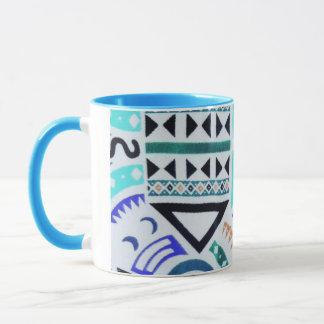 Trendy Girly Abstract Teal Tribal Pattern Mug