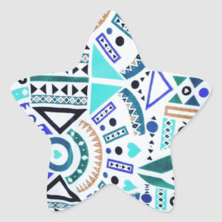 Trendy Girly Abstract Teal Tribal Pattern Star Sticker