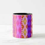 Trendy Girly Bright Aztec Pattern Two-Tone Coffee Mug