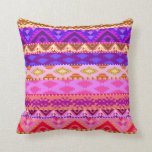 Trendy Girly Bright Aztec Pattern Pillow