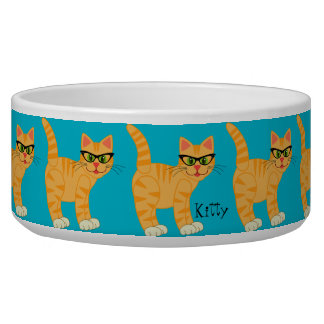 Trendy Girly Cat with Hipster Glasses Pet Bowl
