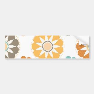 Trendy Girly Flower Pattern Floral Orange Blue Bumper Sticker