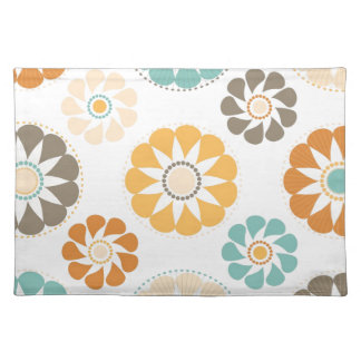 Trendy Girly Flower Pattern Floral Orange Blue Placemats