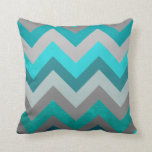 Trendy Girly Gray Teal Chevron Zigzag Pattern Pillow
