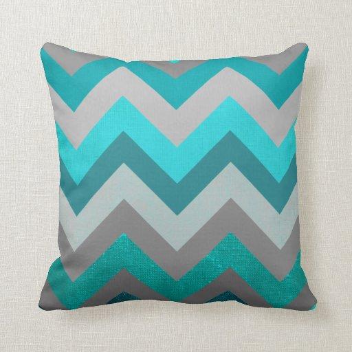 Trendy Girly Gray Teal Chevron Zigzag Pattern Throw Pillows