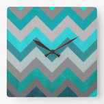 Trendy Girly Gray Teal Chevron Zigzag Pattern Square Wall Clock