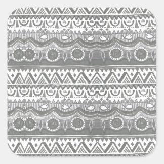Trendy Girly Gray White Tribal Aztec  Pattern Square Sticker