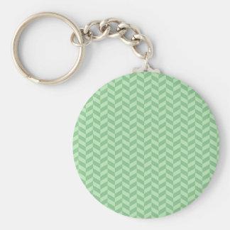Trendy Girly Green Zig Zags Pattern Stripes Basic Round Button Keychain
