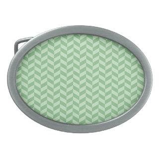 Trendy Girly Green Zig Zags Pattern Stripes Belt Buckles