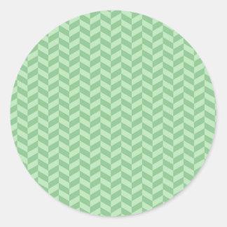 Trendy Girly Green Zig Zags Pattern Stripes Classic Round Sticker