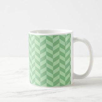 Trendy Girly Green Zig Zags Pattern Stripes Coffee Mug