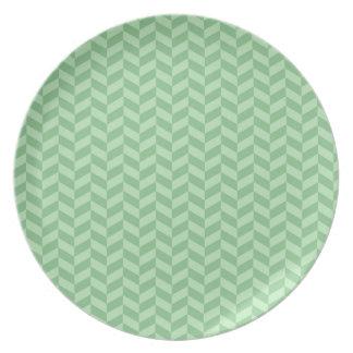 Trendy Girly Green Zig Zags Pattern Stripes Dinner Plate