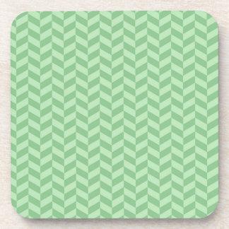 Trendy Girly Green Zig Zags Pattern Stripes Drink Coaster