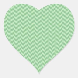 Trendy Girly Green Zig Zags Pattern Stripes Heart Sticker