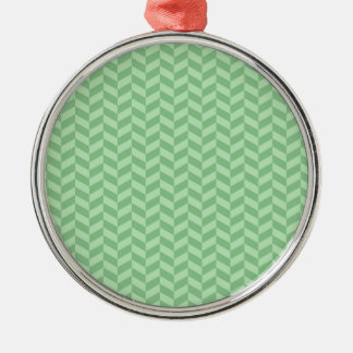 Trendy Girly Green Zig Zags Pattern Stripes Metal Ornament