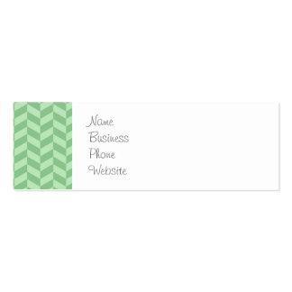Trendy Girly Green Zig Zags Pattern Stripes Mini Business Card