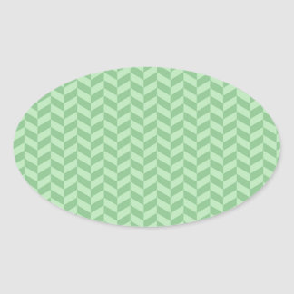 Trendy Girly Green Zig Zags Pattern Stripes Oval Sticker