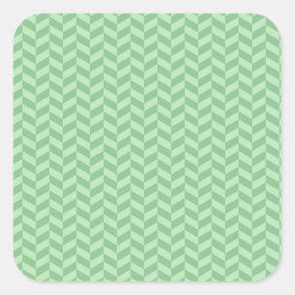Trendy Girly Green Zig Zags Pattern Stripes Square Sticker