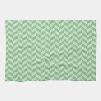 Trendy Girly Green Zig Zags Pattern Stripes Towels