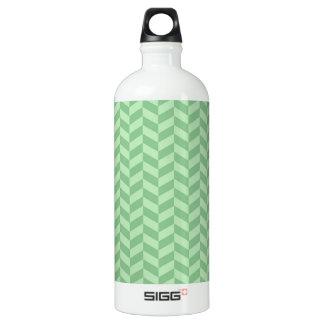 Trendy Girly Green Zig Zags Pattern Stripes Water Bottle