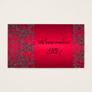 Trendy Girly Initial Elegant Red Black Modern Lace Business Card