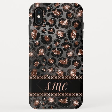 Trendy Girly Leopard Rose Gold Glitter Monogram iPhone XS Max Case