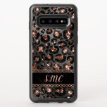 """Trendy Girly Leopard Rose Gold Glitter Monogram OtterBox Symmetry Samsung Galaxy S10 Case<br><div class=""""desc"""">A trendy,  girly leopard rose gold glitter pattern with your monogram.  Please Note: This design does not feature real glitter.  It is a high quality graphic made to look like it.</div>"""